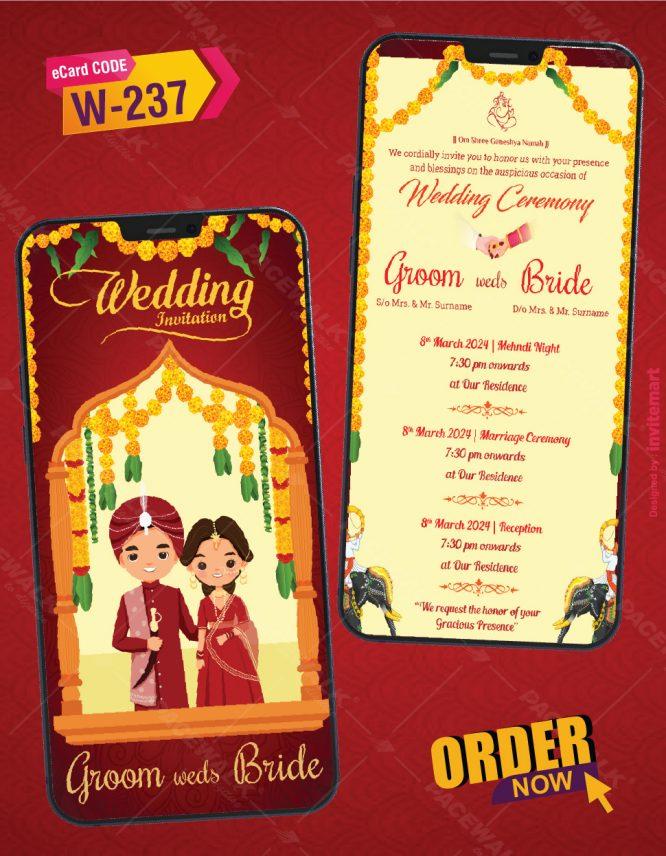 Modern Hindu Wedding Invitation
