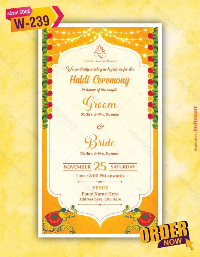 Beautiful Haldi Ceremony Invitation Card