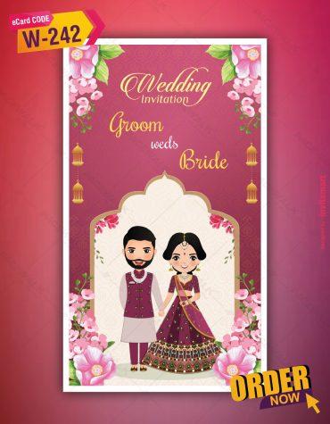 Indian Cartoon Wedding Invitation Card