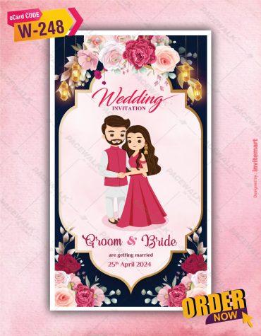 Beautiful Rose flowers Wedding Invitation Card
