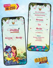 Little Radha Krishna Theme Wedding Card