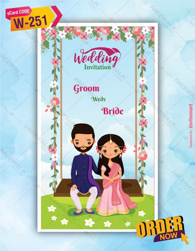 Floral Indian Couple Wedding Invitation Card