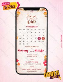 Floral Save The Date With Calendar