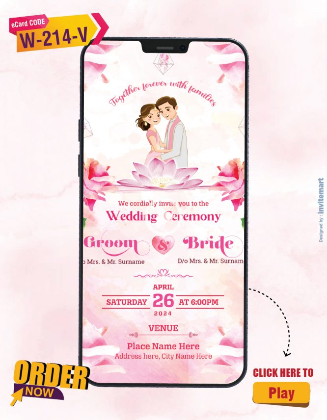 Pink Floral Wedding Invitation Video