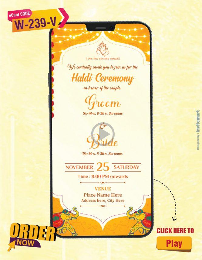 Beautiful Haldi Ceremony Invitation Video