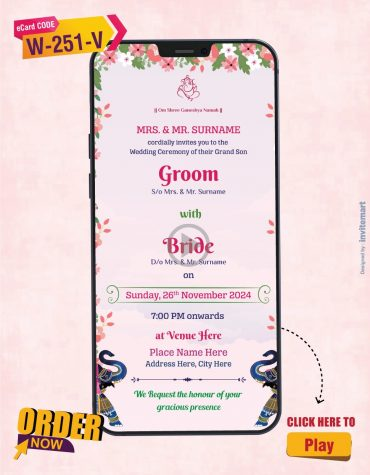 Floral Vine And Swing Wedding Invitation Video