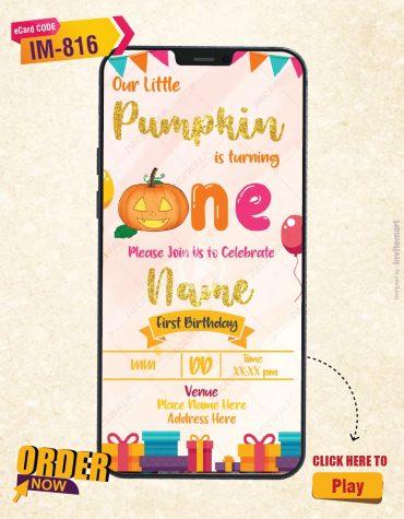 Pumpkin Themed Birthday Invitation Video