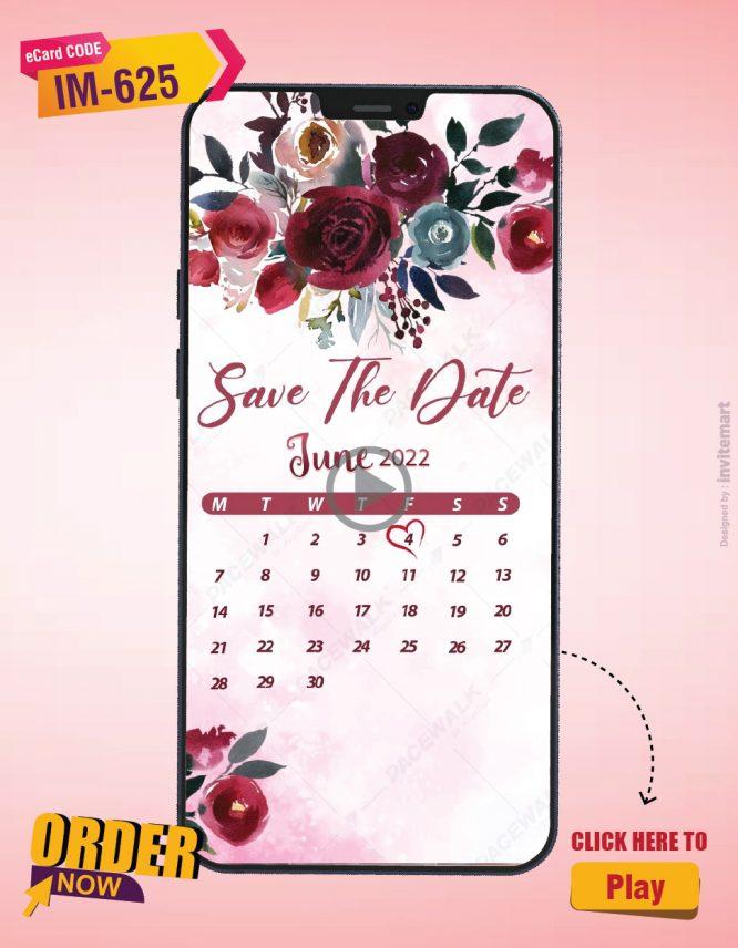 Rose Calendar Save The Date Invitation