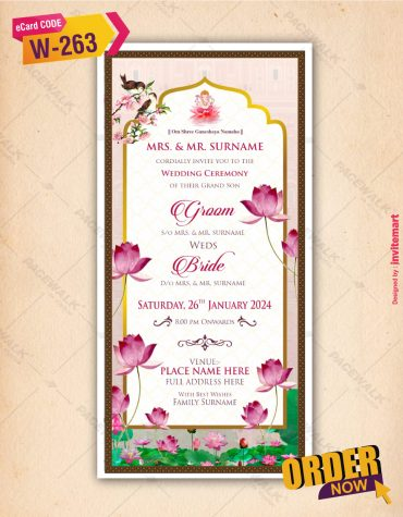 Lotus Theme Wedding Invitation