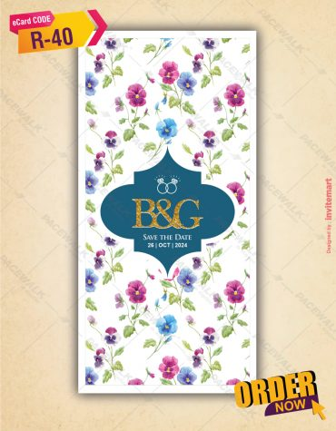 Floral Engagement Invite Card